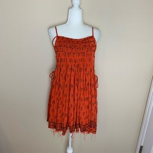Free people one woven lace up side mini dress 1968